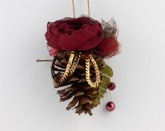 Pine Cone Christmas Ornament,Cottage Pine Cone Christmas Ornament,Country Christmas Ornament,Fall Home Decor,Winter Home Decor