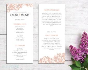 Printable Wedding Program | Customizable | Color - TP08