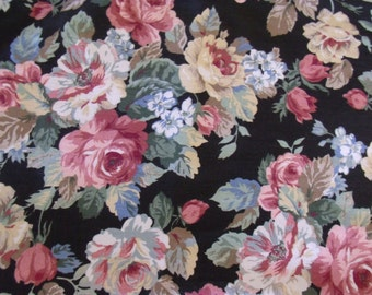 """Shabby Floral Home Decor Fabric Yardage Black with Colored Roses 4 Yards by 48"""" W  Peter Pan Fabrics 4 Yds Avail Sold by the yard"""