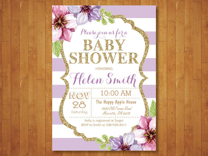 purple and gold baby shower invitation purple black gold