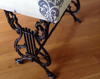 Antique Wrought Iron and Cast Iron Bench, New Upholstry and Cushion, Vintage Wrought Iron