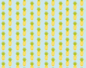 """Fresh Market Pineapple Blue by Riley Blake Designs - Fruit - Quilting Cotton Fabric - 17"""" end of bolt"""