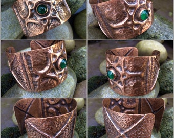 Solid copper, air chased and fold formed cuff bracelet set with a green aventurine