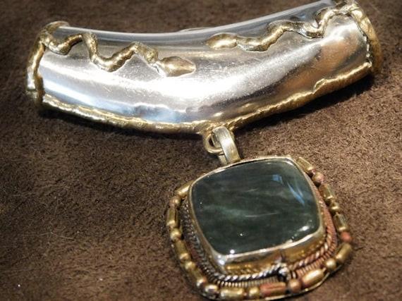 Green Moss Agate Tube Bail Pendant Slide Tribal Artisan Hand Crafted Gemstone Vintage Jewelry Snakes Egyptian Revival BOHO Hip Hipster Hippy