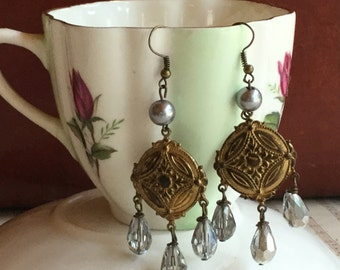 chandelier dreams- unique vintage assemblage earrings