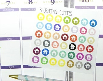 42 Brightly Colored House Stickers To Use With Erin Condren Planner
