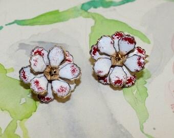 Vintage, Bright Red and White, Enamel Flower Earrings