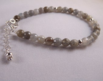 Gemstone bracelet.  Labradorite and 925 sterling silver bracelet