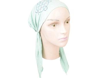 Soft Women's Mint Green Headscarf Modest Tichel Chemo Turban Headcover with Rhinstone Swirl Applique Pretied Hair Snood Hair Loss Head Scarf