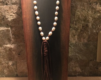 Dark brown Leather necklace with freshwater pearls and leather tassel