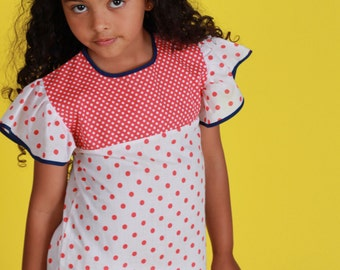 60's Red/White  Dots Frilled Dress French Stock 6-8 Years