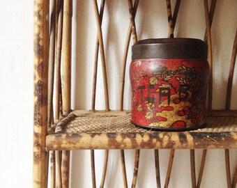 Vintage tea caddy, Chinese tea canister storage jar