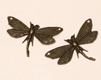 2 Pcs Antique Brass Dragonfly Connector Pendant | 100-Brz