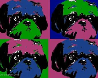 A3/Retro pop art/Shih-Tzu art/Dog art/Unusual Shih-tzu print/Pop art print/Pop art collage/Pet art/Dog print/Unique Design/Digital art/Pets