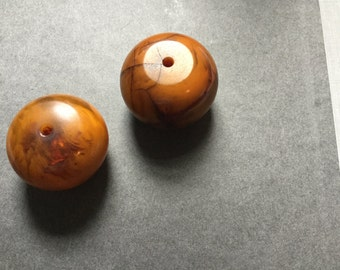 AFRICAN COPAL AMBER Beads (2)