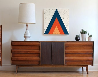 Large mid century modern art, geometric print, geometric art print, triangle art, arrow art, 70s art, retro art, Scandinavian decor, mid mod