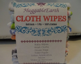 24 CLOTH WIPES-100% COTTON by HuggableEarth