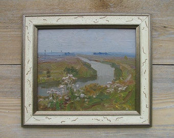 1984 Along the canal. Oil Painting. Siberia. Landscape. Original. Signed