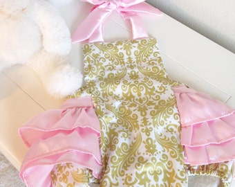 Glitz Gold Damask and Baby Pink Ruffle Butt Romper, Sizes 0-6 mo, 6-12 mo, 12-18 mo, and 18-24 mo