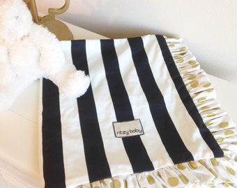 Black and White Stripe and Glitz Gold Dot Baby Blanket, Choose Your Minky Reverse, Optional Travel Lovey