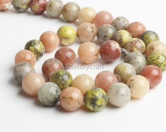 B400 Natural Mixed Stone Beads Supplies, Full Strand 4 6 8 10mm Round Mixed Stone Beads for DIY Jewelry Making