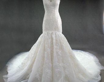 Lace Crystal Beaded Cap Sleeve see through illusion shoulder Mermaid Trumpet Wedding Dress