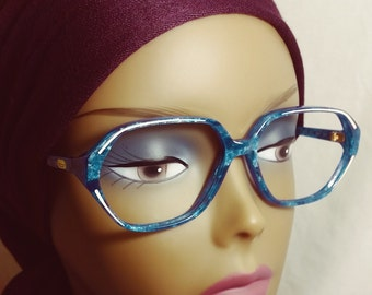 Vintage Eyeglasses, Made in Italy, Blue Marble