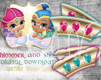 SALE 90% OFF Shimmer and Shine Genie Bangles for Birthday Party-Party Supplies-Digital file Shimmer & Shine