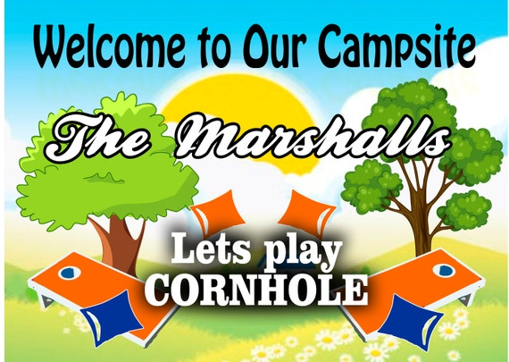 Camper Sign Corn Hole Sign Bean Bag Toss Sign Colors
