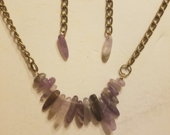 Amethyst Necklace and Earings