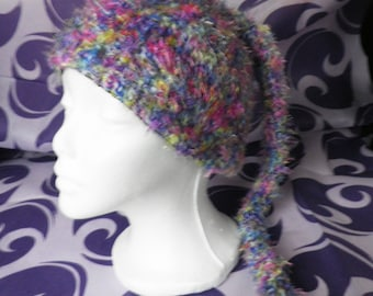 Fluffy Fairy Multicoloured Hand Crochet Hat With Tail  Size M