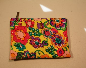 Vintage retro mod 60's cosmetic case bag hippy flower power travel yellow pink purple green
