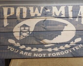 POW MIA rustic wooden sign