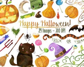 Halloween Clipart - Halloween Items Download - Instant Download - Faux Watercolor Halloween Assets