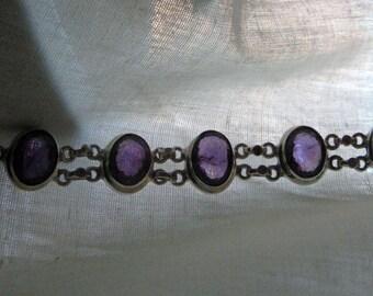 Silver Amethyst set bracelet