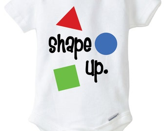 Shape Up Baby Onesie Design, SVG, DXF, EPS Vector files for use with Cricut or Silhouette Vinyl Cutting Machines