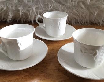White Teacup & Saucer Trio