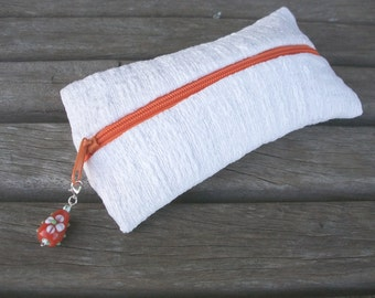 handwoven pencil cases, pure linen, white, tree, with orange zipper and removable trailer with orange glass bead, one of a kind