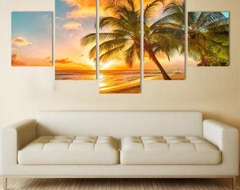 Beach 5 Panel Canvas Prints
