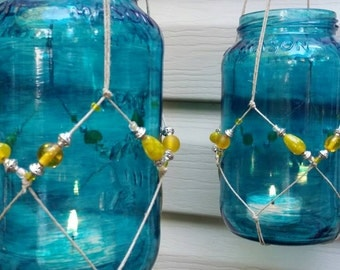 Pair of Knotted Hanging Mason Jars, Hanging Candle Holders, Macrame Mason Jars, Beaded Hanging Mason Jars, Hanging Beaded Mason Jars