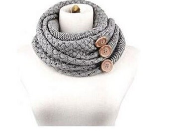 Knitted Scarf with Buttons, Neck Warmer, Scarves for Women,Black scarf,Gray Scarf, Winter Scarves