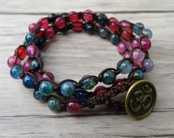 3 Rows multi colors Beads BOHO Wrap Bracelet Triple Wrapped Agate beaded bracelet Chic gemstones Yoga bracelet Bohimian Jewelry    SL-0105