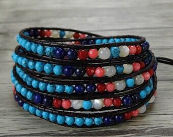 Colorful bead wrap bracelet Boho turquoise wrap bracelet rainbow bracelet gypsy bead bracelet 5 wraps bracelet beadwork jewelry SL-0400