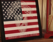 Framed American Flag with Etched Army Ranger Emblem and Scroll