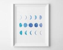 Moon Phases, Blue Moon, Moon Wall Art, Printable Poster, Watercolor Moon, Watercolor Prints, Blue Watercolor, Nursery Art, Bedroom Decor