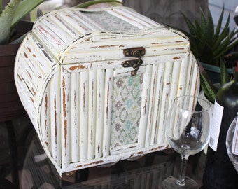 Shabby Chic Distressed Antique White Bamboo Chest / Cabinet / Trunk