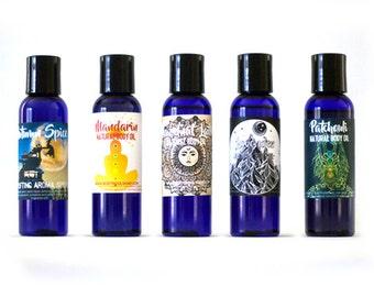Set of Five Natural Body Oils in Autumn Pumpkin Spice, Mandarin, Hazelnut Latte, Lavender and Patchouli