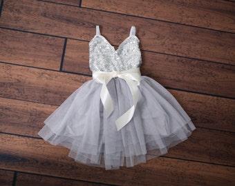 Silver Flower Girl Dress, Gray sequin dress, Gray Tulle, Navy Grey Cream Wedding, Sash Belt set, Gold glitter dress, Tutu dress, Photo Prop
