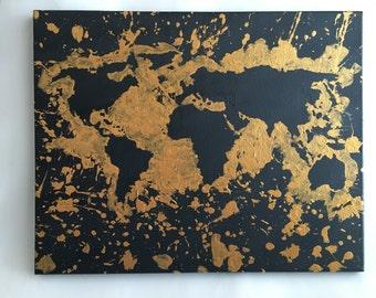 Canvas black & gold world map /splattered paint