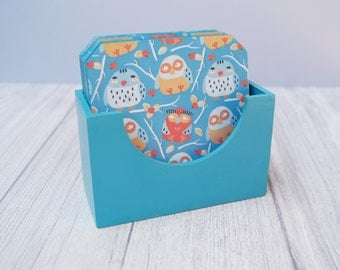 Wooden coasters with stand Owls print wood drink coaster set table owl decorative tea coffee housewarming gift bright blue home decor